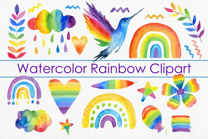 Watercolor Rainbow Clipart - Bird, Heart, Floral, Stars Art