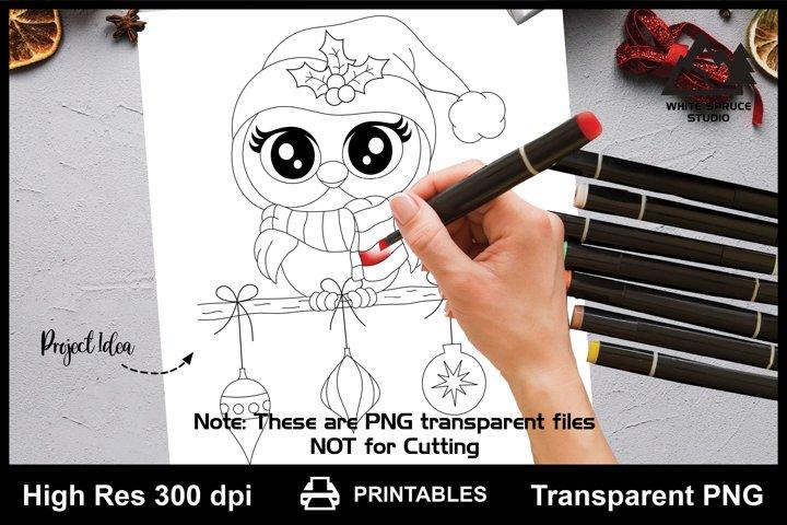 Christmas Owl Printable Line Art PNG, Owl Sayings Quotes