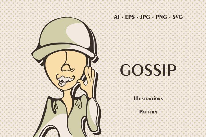 Gossip Girls Minimalist Posters and Seamless Pattern