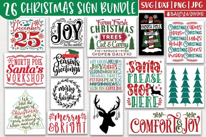 Christmas Sign SVG Bundle - 26 Christmas Holiday SVGs