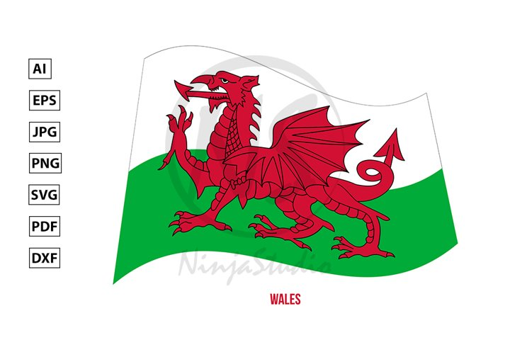 Wales Flag Waving Vector. Countries of the United Kingdom