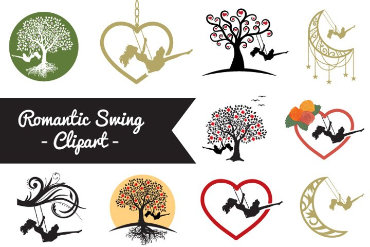 Romantic swing - Clipart