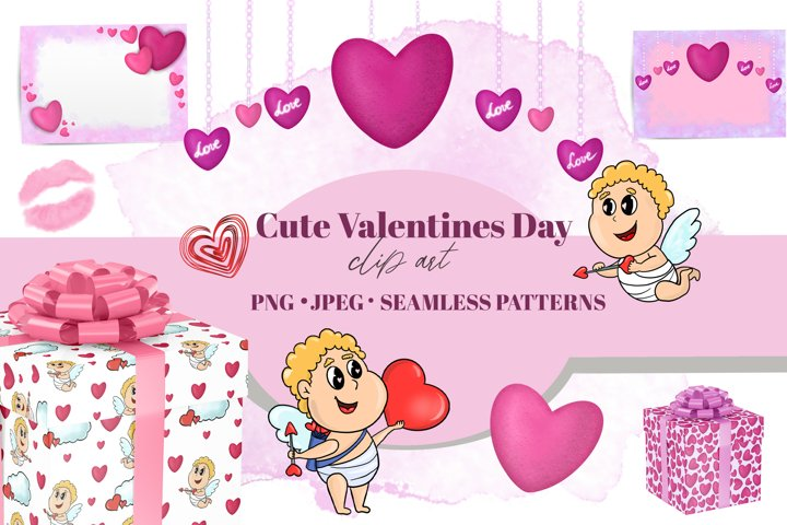 Valentines Day clipart. Cupid sublimation. Seamless pattern