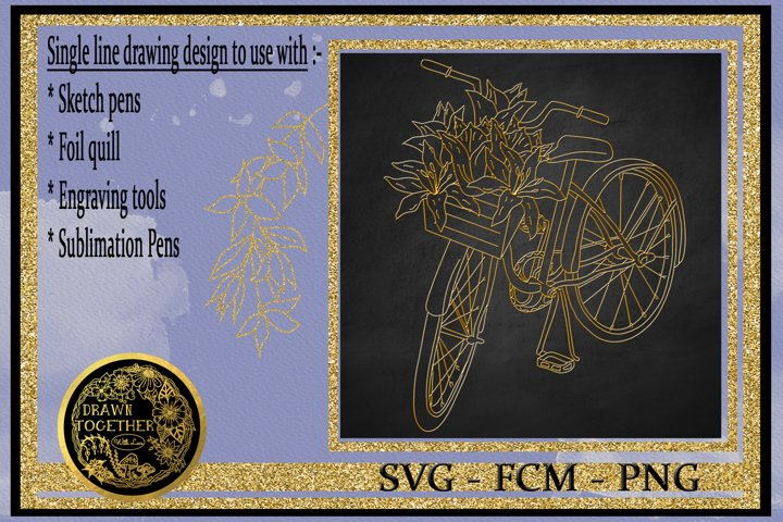 Bicycle with Lilies in basket - Single line for foil quill