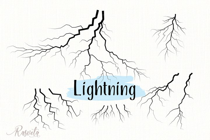 Set Of Thunder Lightning Silhouettes/1