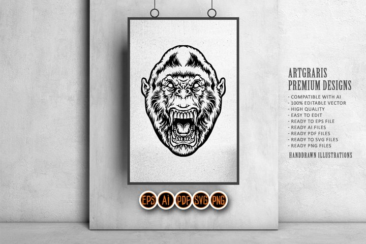 Silhouette Angry Gorilla SVG Clipart SVG