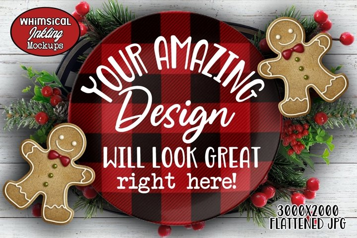 Buffalo Plaid Platter Christmas Mockup
