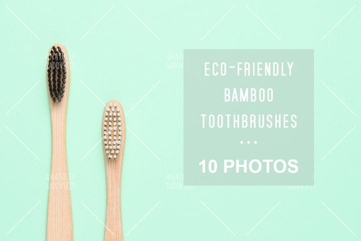 Bundle of 10 photos - eco-friendly bamboo toothbrushes