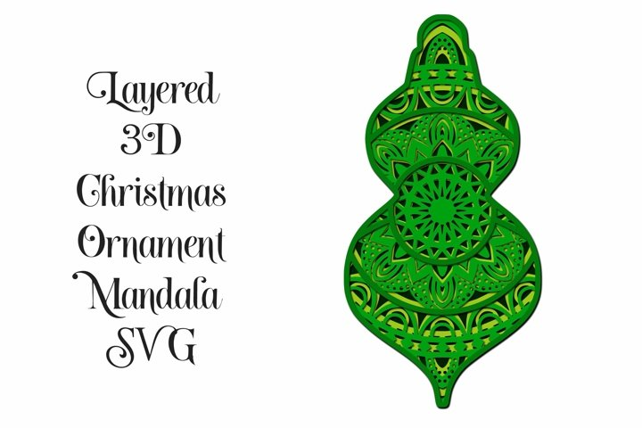Christmas Ornament Mandala 3D Layered SVG - 4 Layers F1