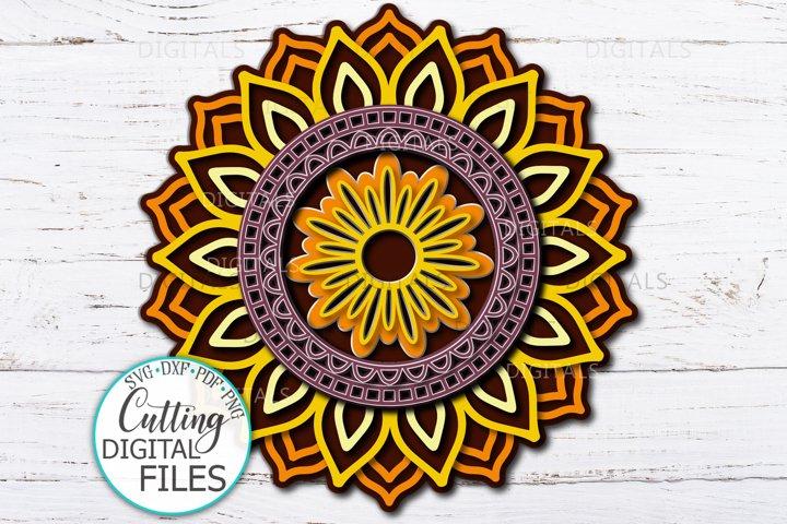 3D Sunflower Mandala Layered paper art svg dxf cricut laser