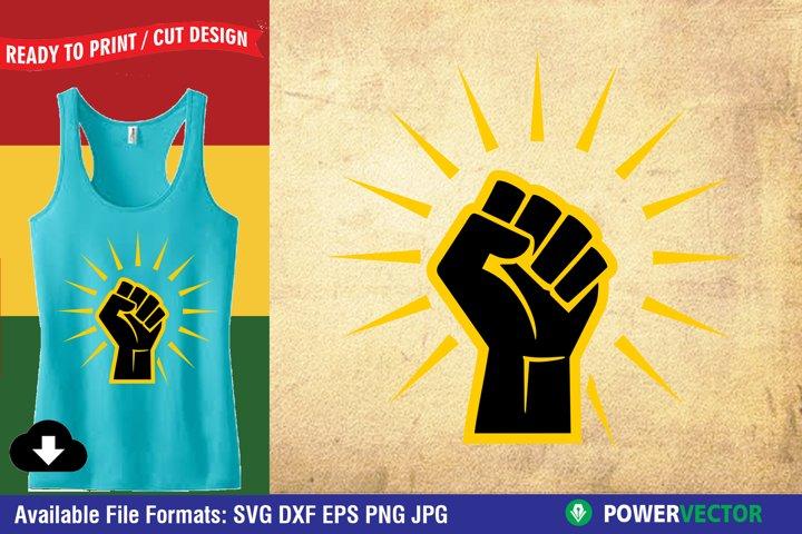 Raised Fist, Black Power 2 Layer SVG