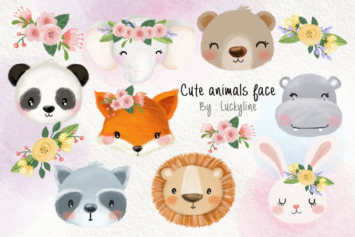 Cute animals face clipart Instant Download PNG file - 300 dp