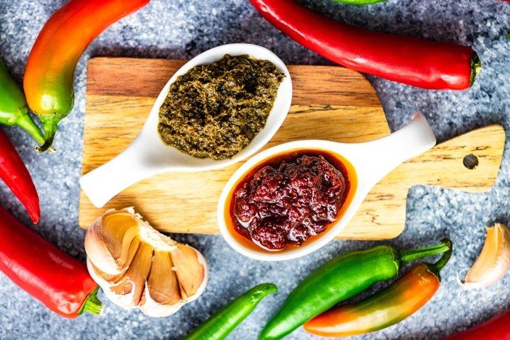 Traditional Georgian spicy red and green adjika