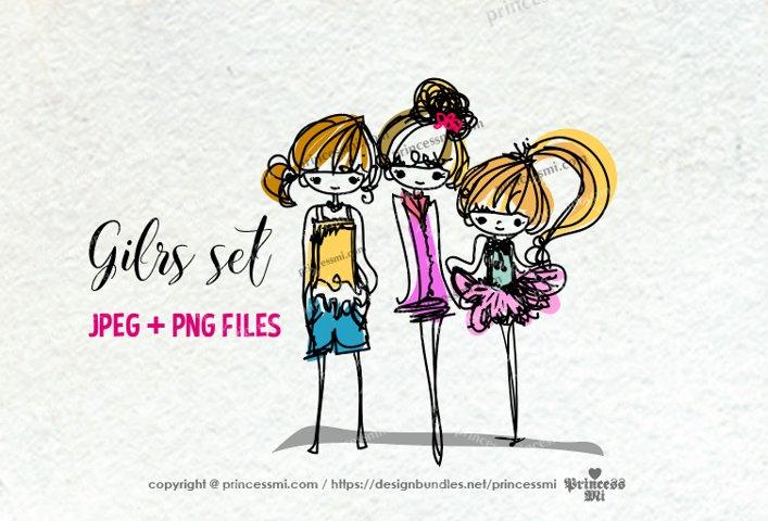 sketch style hand drawn girl clipart set , three girls