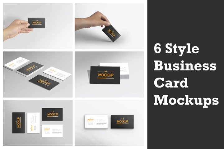 6 Style Business Card Mockups