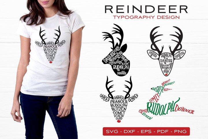 Reindeer Names SVG Bundle, Reindeer Typography Design