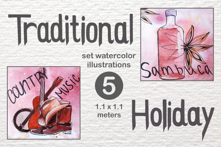Traditional holidays in the USA Watercolor Size 1.1 meters