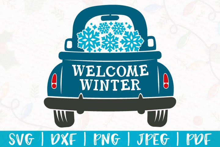 Winter truck svg, Snowflake truck svg, Truck with snowflakes