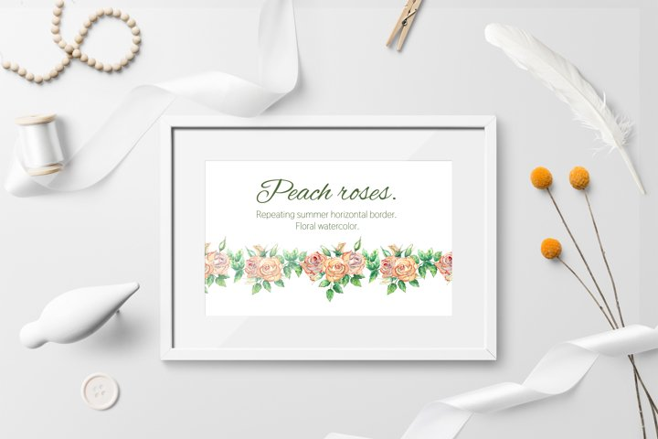 Peach rose. The repetition of the horizontal border.