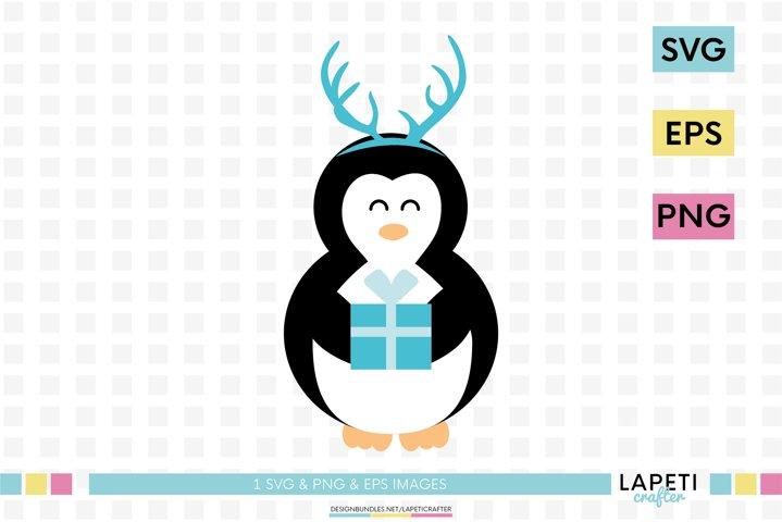 Christmas penguin svg, winter animals clipart, cute penguin
