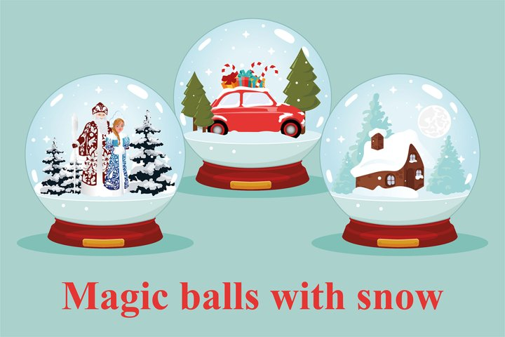 Glass magic balls with snow