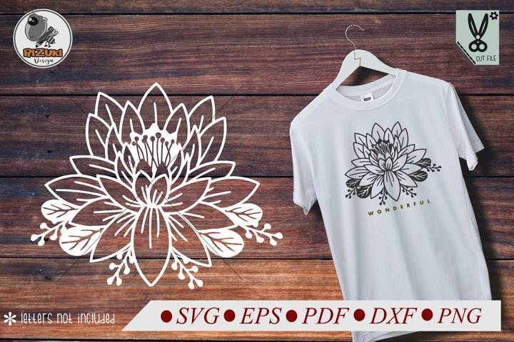Lotus Flower svg, single flower, instant download, cut file.