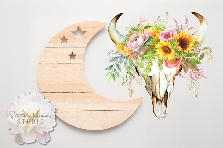 SPRING BLOOMS COW SKULL - PNG