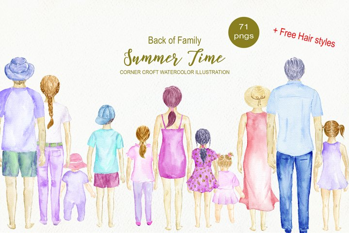 Watercolor Clipart Back of Family Summer Time