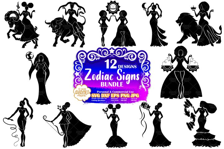 Zodiac Sign SVG Bundle | Black Woman SVG | Astrology SVG