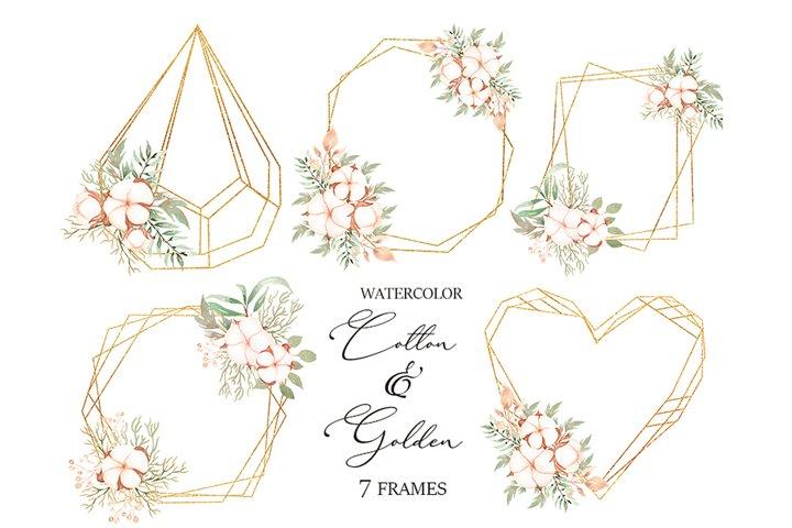 Watercolor Cotton Bouquet and Golden Frames Set