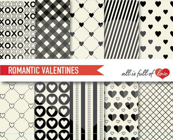 Black and White Valentines Day Patterns Romantic Digital Paper Pack