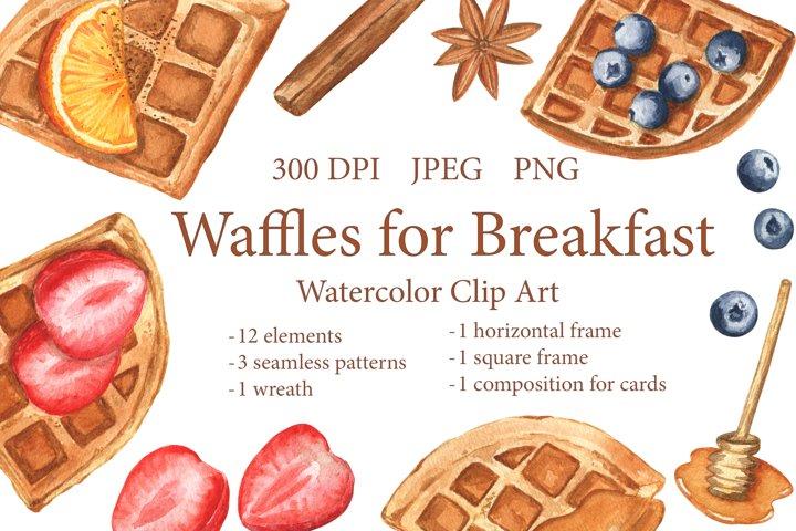 Waffles for Breakfast. Watercolor Sweet Dessert. PNG, JPEG