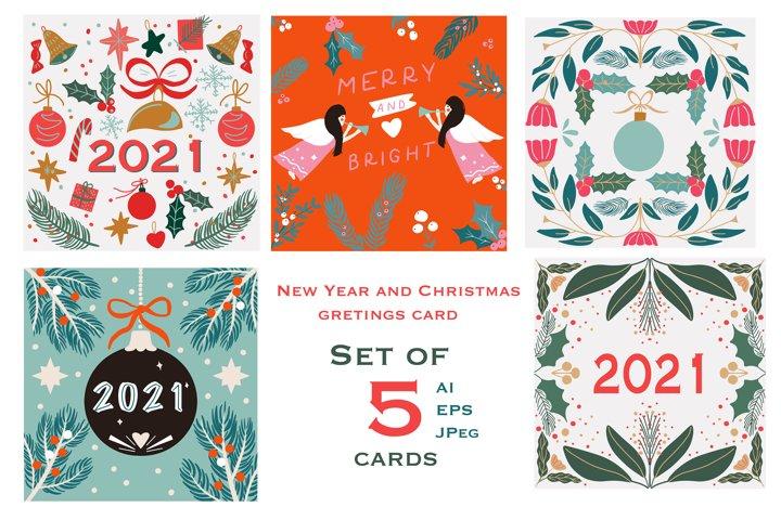 Bundle of Christmas and new year folk art card
