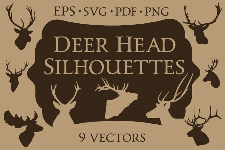 9 Vector Deer Head Silhouettes
