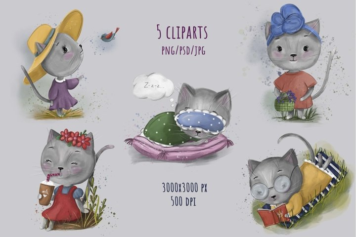 Set kitten clipart png, cute cat clipart, kids clipart