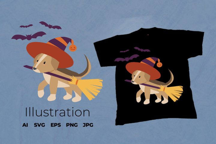 Sublimation Design for T Shirts | Halloween Dog