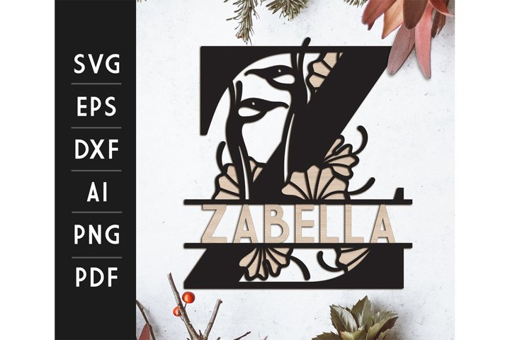 Z - Split Monogram Japanese Layered Cut File - SVG / DXF