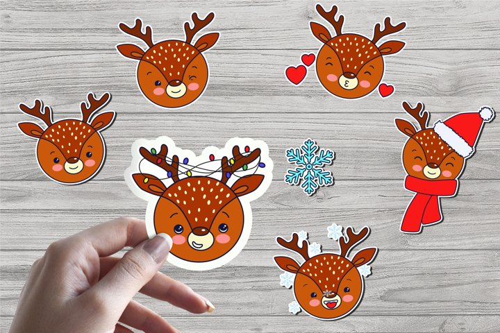 Cute Christmas Deer Stickers