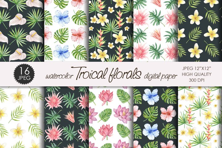 Watercolor Tropical flowers and leaves digital paper