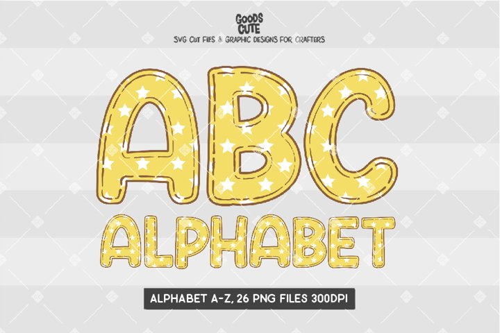 Yellow Star Alphabet - Sublimation PNG