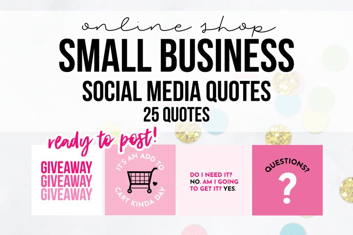 25 x Pink Online Business Social Media Quotes