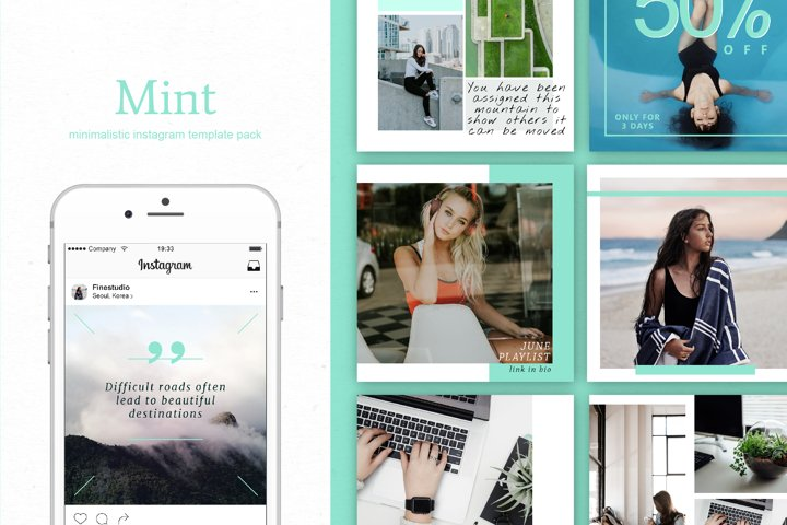 Mint   Instagram  stories templates