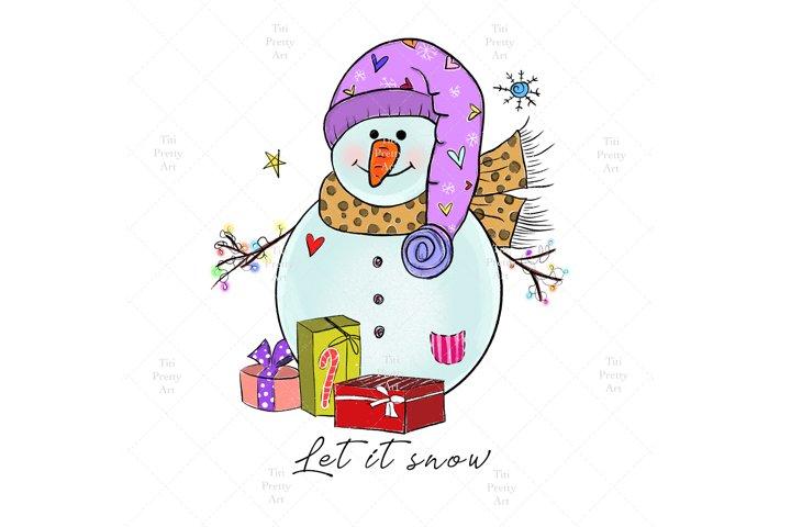 Cute Snowman SVG Bundle, Let It Snow