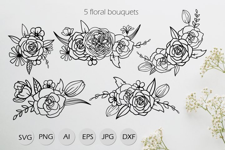 5 Floral Bouquets with Roses SVG