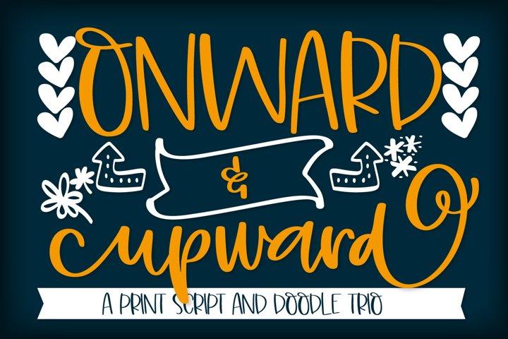 Onward & Upward - A Script Print & Doodle Trio Font