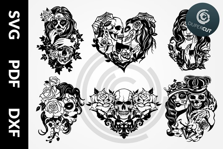 6 designs SVG / PDF / DXF Skull Bundle Papercutting Template