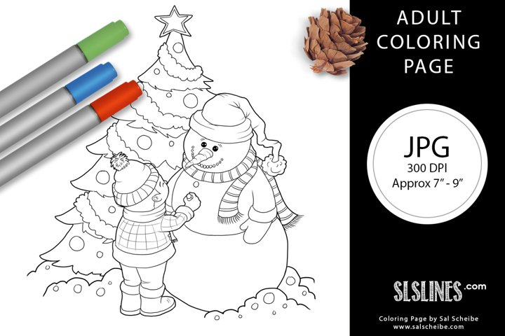 Boy and Snowman Christmas Scene Adult Coloring Page