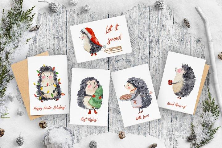 Hedgehog Winter - Watercolor Clip Art Set