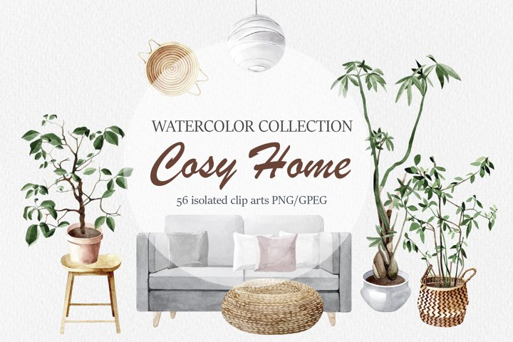 Cozy Home. Watercolor collection
