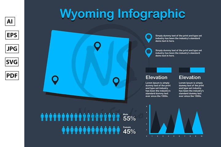 Wyoming State USA Map with Set of Infographic Elements